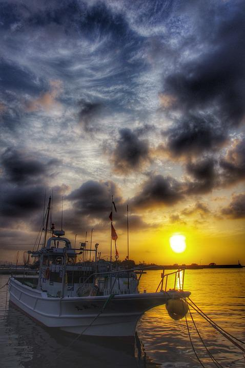 Asahi, Sea, Views, Landscape, Port, Morning, Ship, Sky