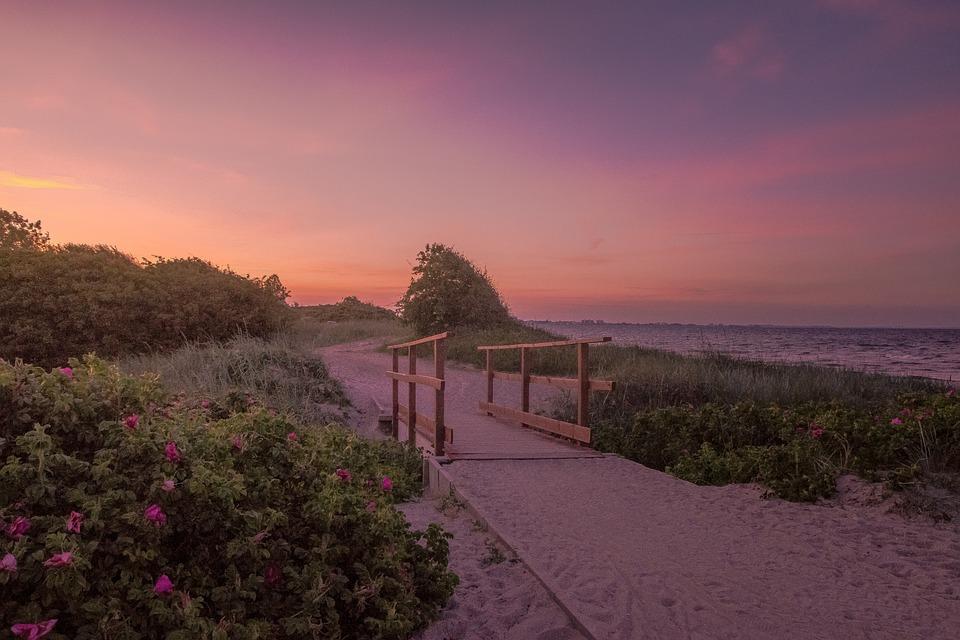 Bridge, Sea, Color, Sunset, Baltic Sea, Magenta, Coast