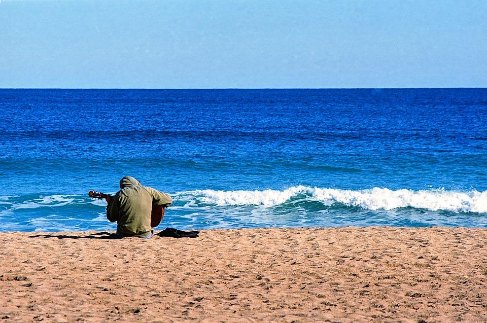 Beach, Guitarist, Guitar, Music, Young, Summer, Sea