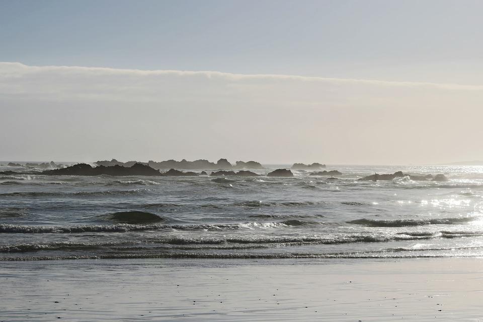Beach, Sea, Back Light, Ocean, Rock
