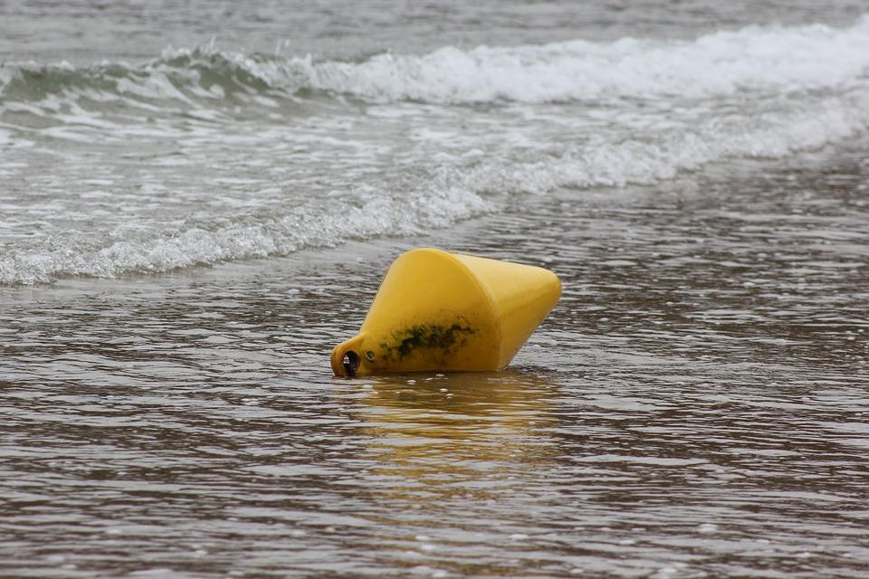 Buoy, Sand, Sea, Beach, Yellow