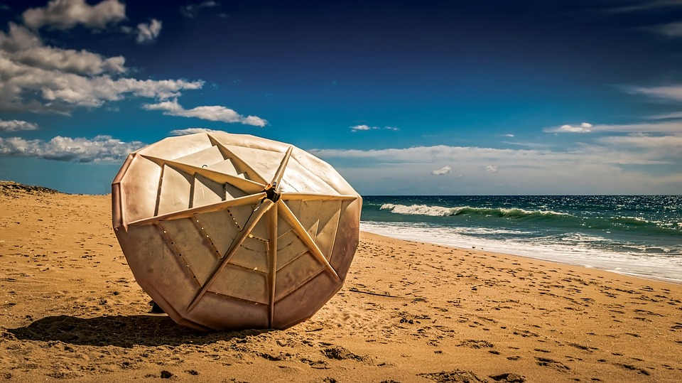 Parasol, Sun Shade, Sand, Beach, Seashore, Water, Sea