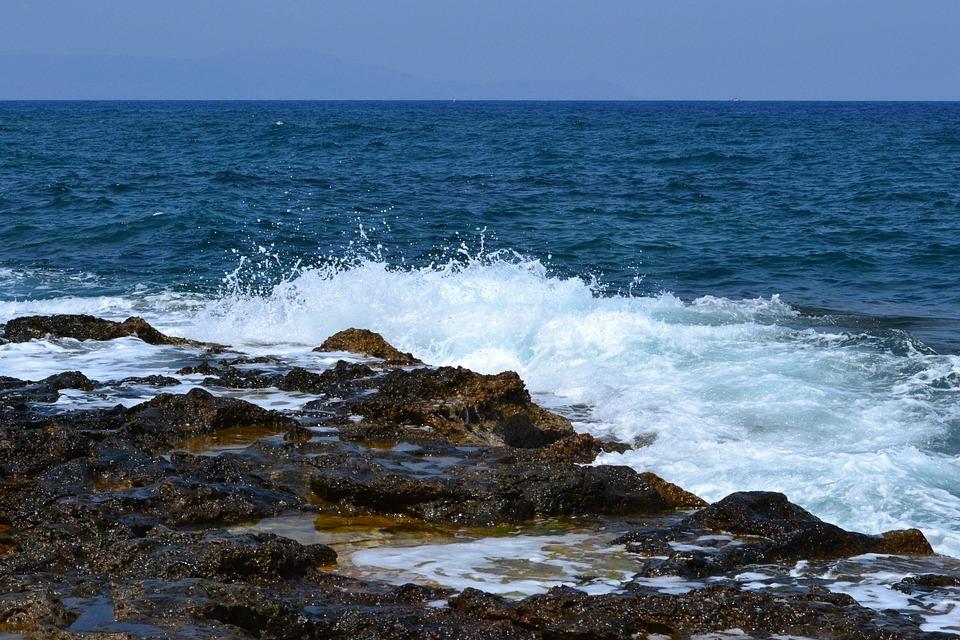 Wave, Beach, Sea, Spray, Stones, Tide