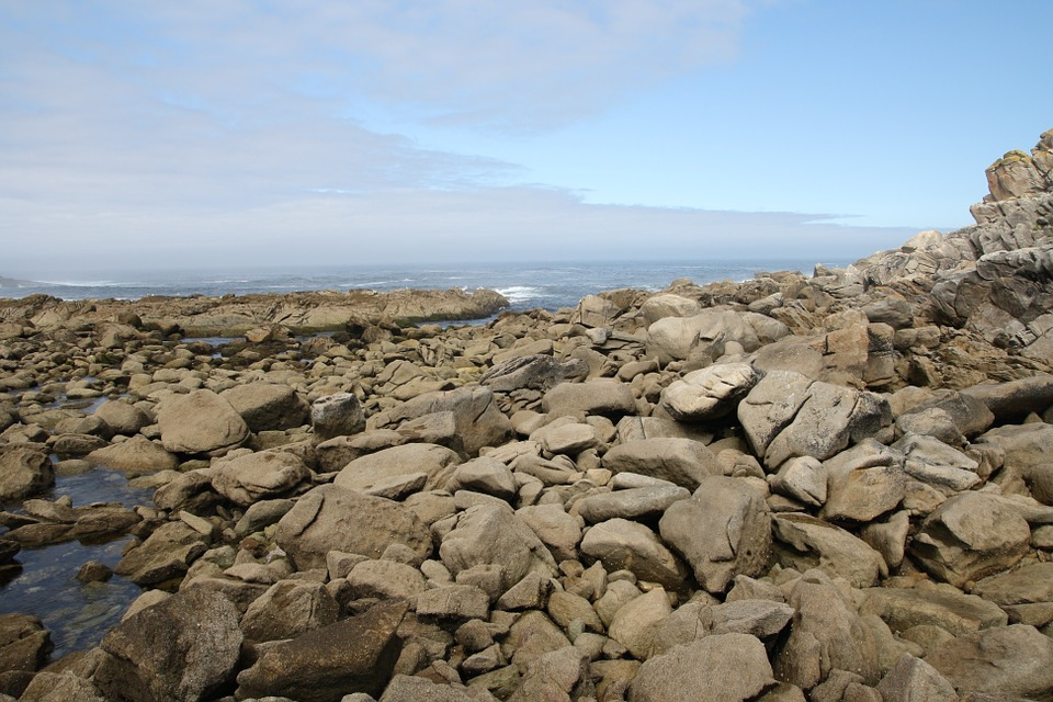 Landscape, Stones, Sky, Sea, Beach