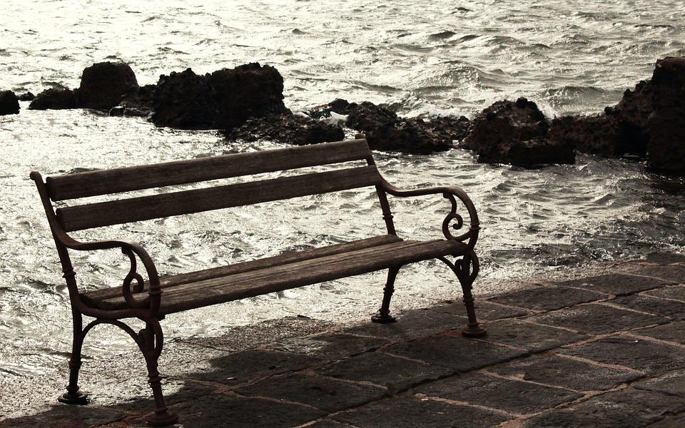 Bench, Love, Sea, Waters, Nature, Landscape, Winter