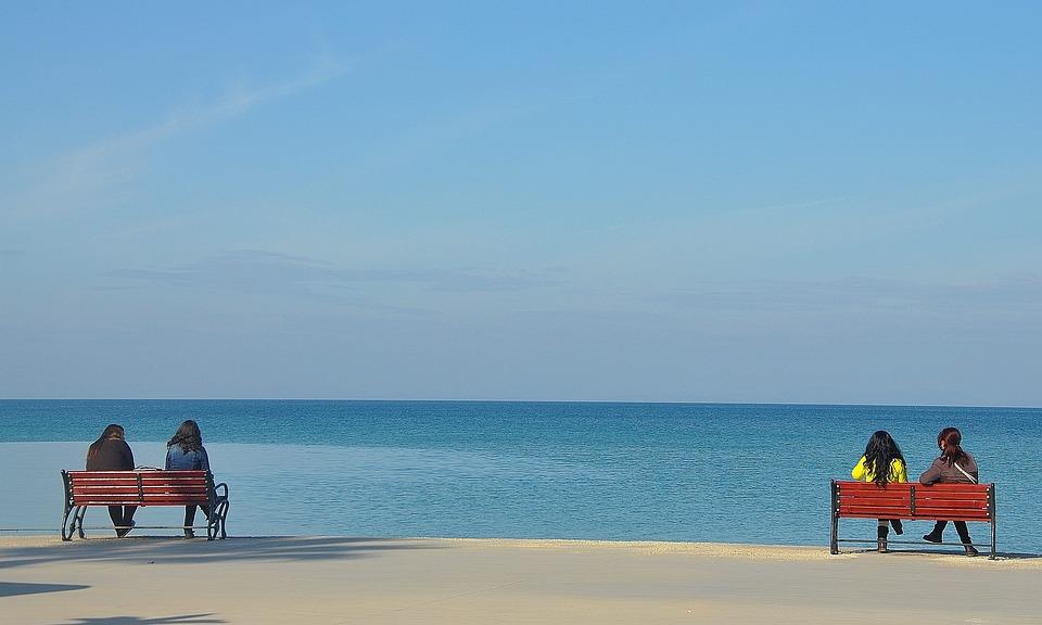 Park, Bench, Seat, Sitting, Couple, Beach, Sea, Sky