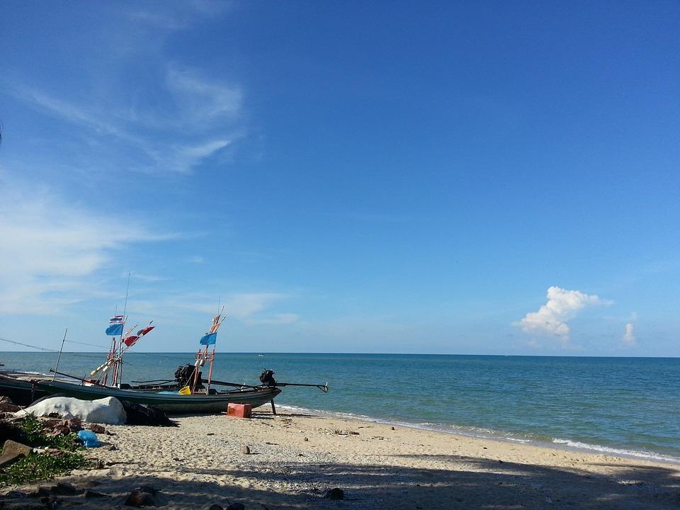 Thailand, Boat, Ocean, Sea, Beach, Seascape, Sky, Water