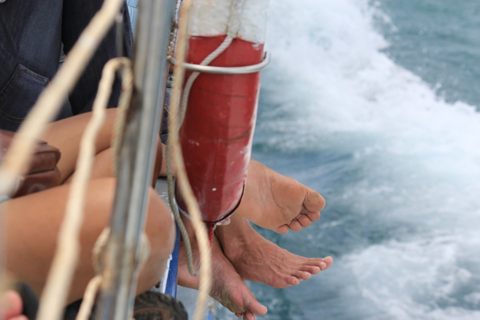 Feet, Boat, Travel, Backpacking, Vacation, Sea, Ferry
