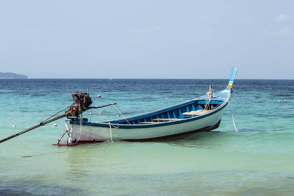Sea, Shore, Boat, Blue, Sky, Beach