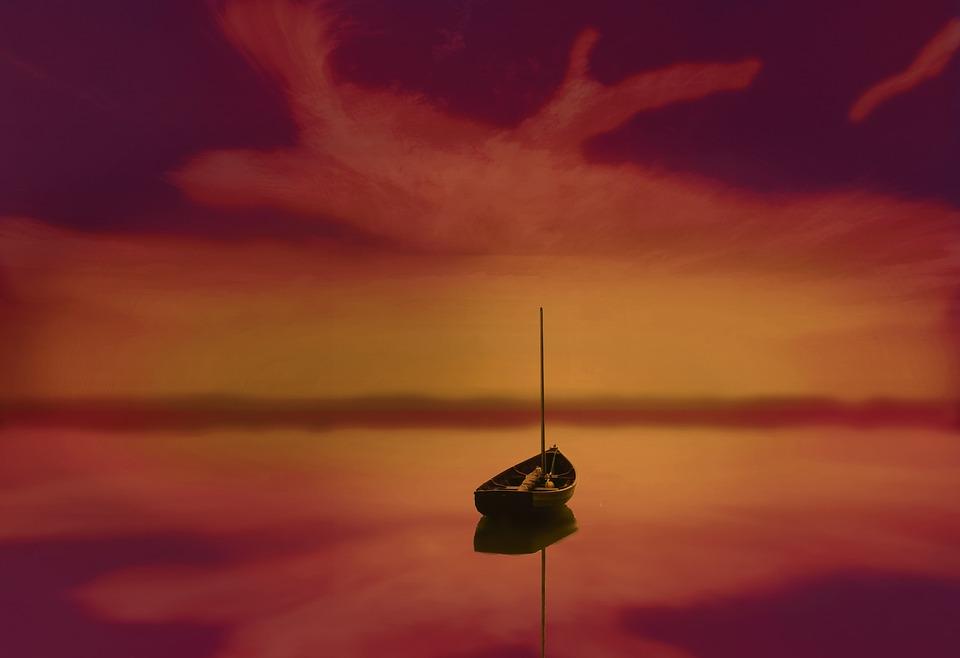 Boat, Sky, Sea, Sunset