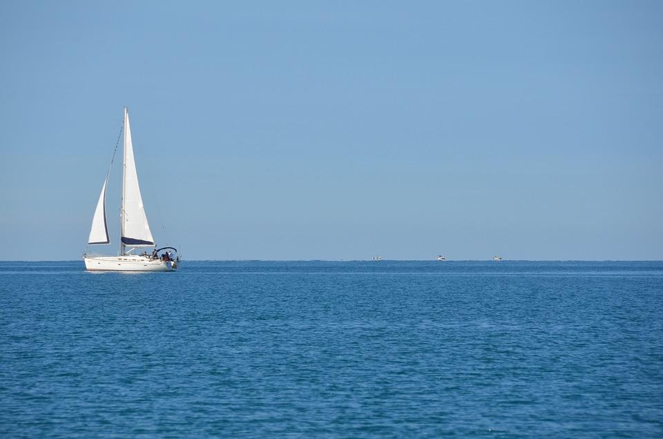 Ocean, Sea, Boat, Sailboat, Blue, Water, Wind, Sky