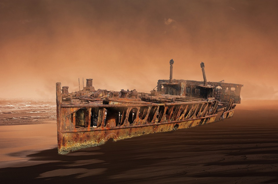 Ship, Wreck, Old, Boot, Water, Sea, Setting, Stainless