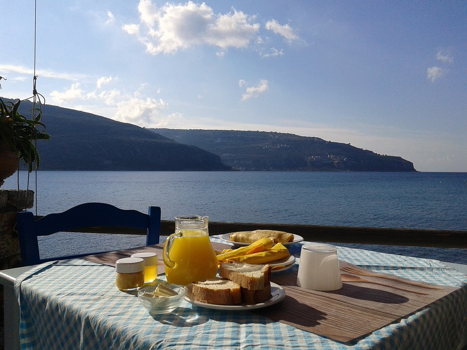 Breakfast, Sea, Food, Healthy, Orange Juice, Greece