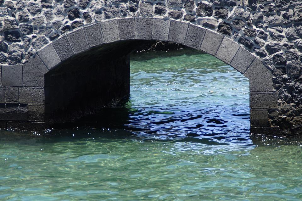 Wall, Arch, Bridge, Water, Atlantic, Blue, Sea