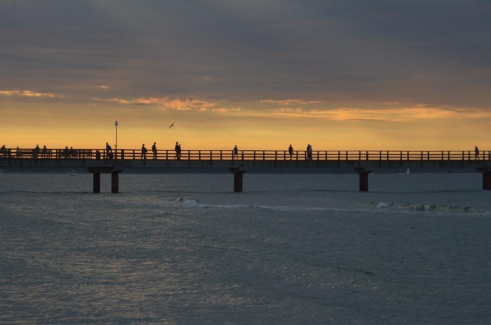 Sea, Evening, Evening Sun, Sunset, Sea Bridge