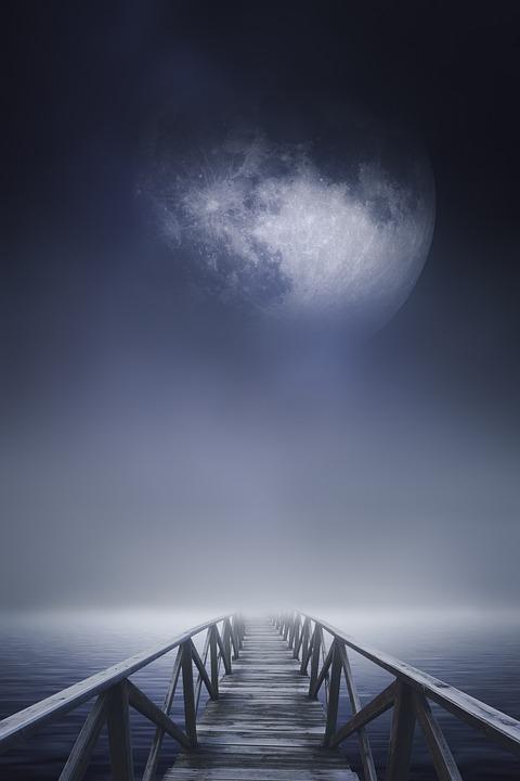 Bridge, Sea, Moon, Fog, Jetty, Dock, Sky, Water, Light