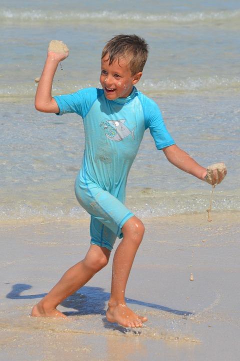 Child, Boy, Fun, Play, Sea, People
