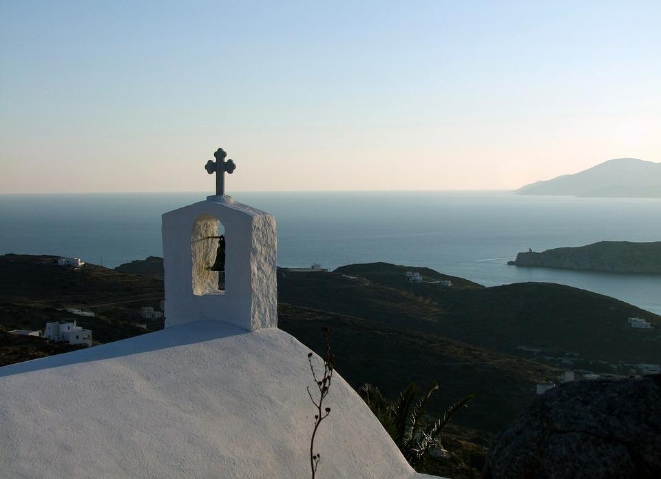 Church, Church Roof, Cross, Outlook, View, Sea, Greece