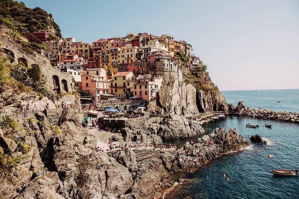 Manarola, Cinque Terre, Italy, Sea, Mediterranean