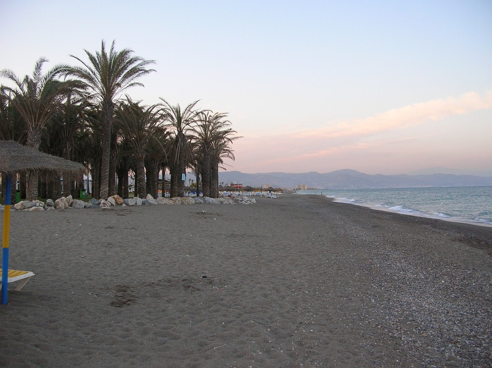 Torremolinos, Beach, Sea, Spain, City, Palm Trees