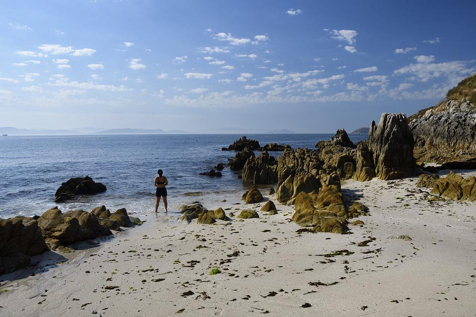 Melide Beach, Galicia, Ons, Sea, Cliff, Landscape