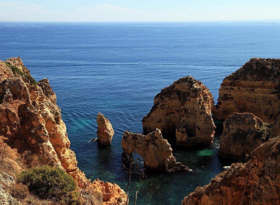 Algarve, Portugal, Sea, Rock, Cliff, Atlantic, Ocean