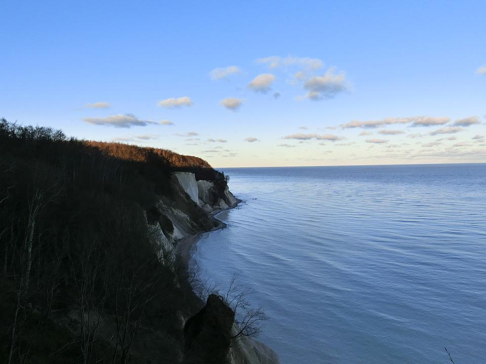 White Cliffs, Sky, Sea, Coast, Water, Cliffs