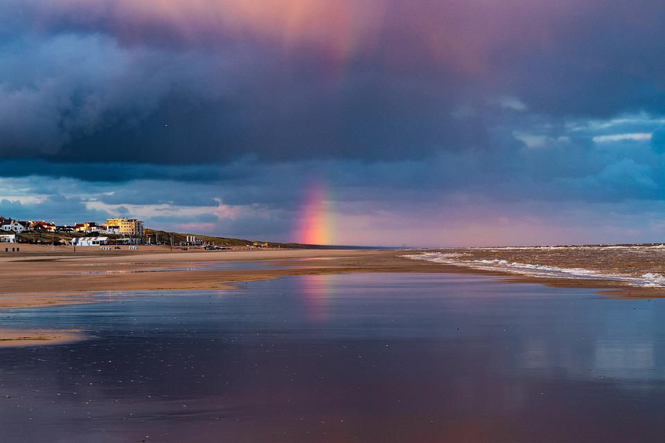Rainbow Colors, Color, Sea, Beach, Clouds