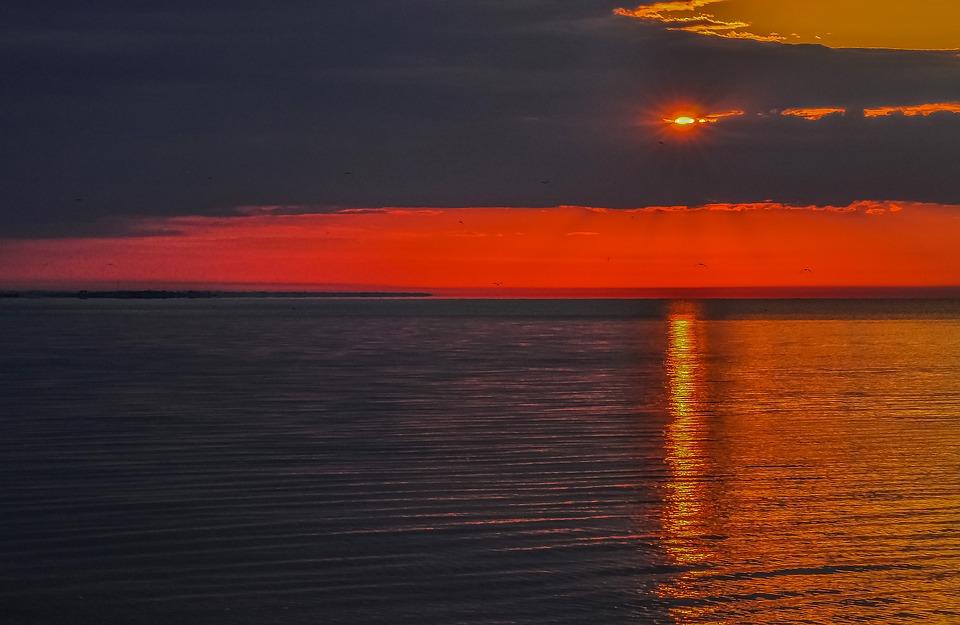 Sea, Clouds, Sun, Orange