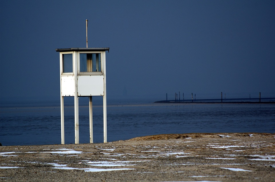 North Sea, Watchtower, Coast, Sea, Beach, Wadden Sea