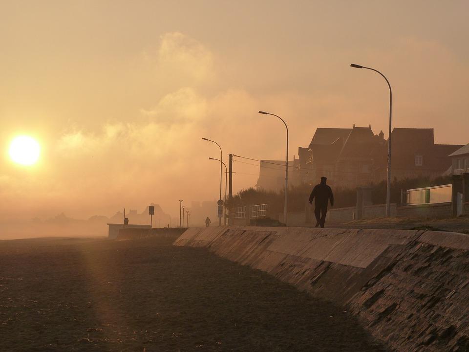 Sunrise, Sea, Normandy, France, Coast, Morning Mood