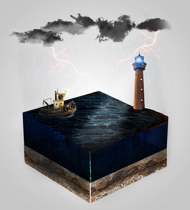 Lantern, Boat, Sea, Water, Cube