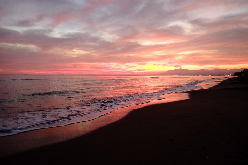 Sunset, Body Of Water, Dawn, Sea, Beach