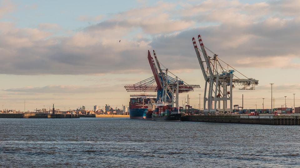 Waters, Sea, Port, Ship, Pier, Hamburg, Cranes, Elbe