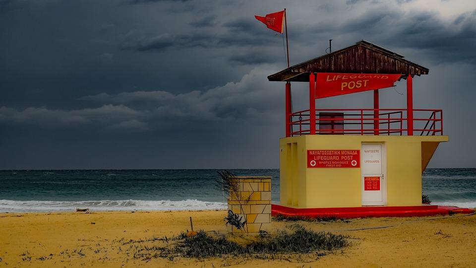 Beach, Empty, Lifeguard Tower, Post, Sea, Sand, Nature