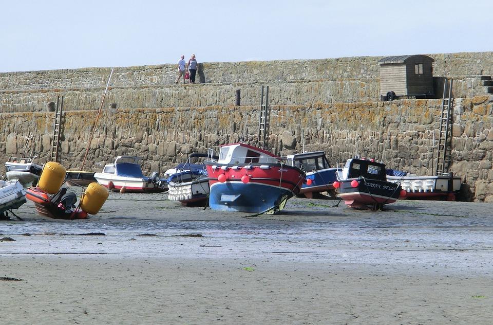 Ebb, Port, Boats, Dry, England, Sand, Wall, Sea