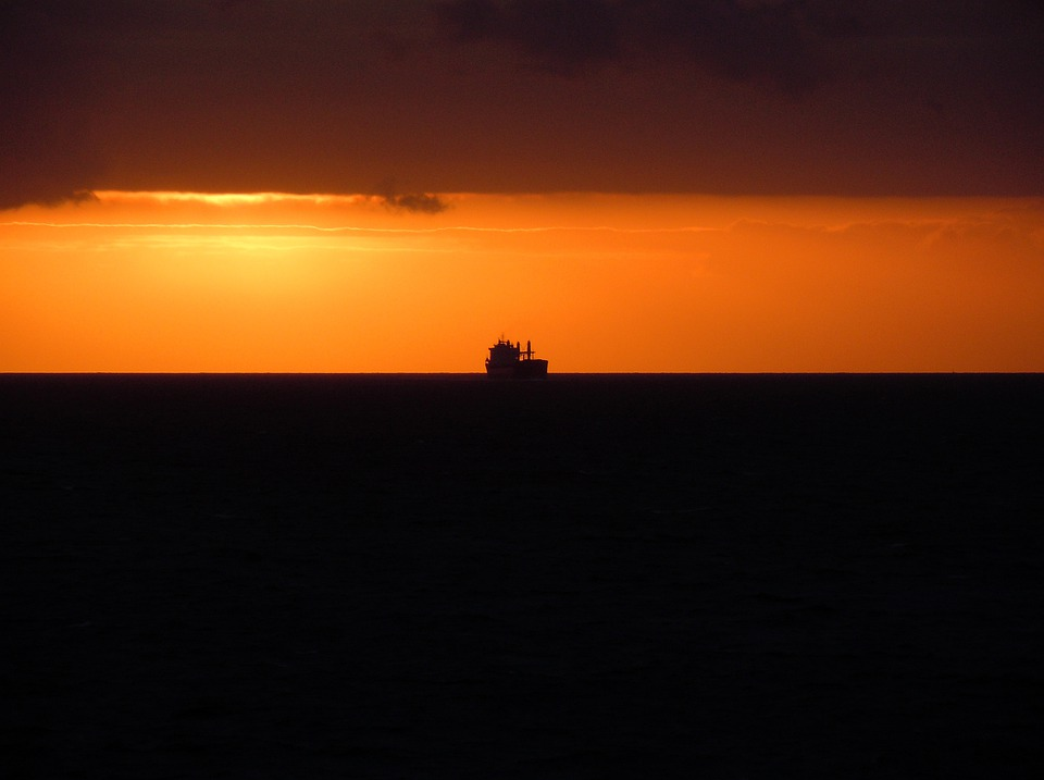 Back Light, Sea, Ship, Evening Sun