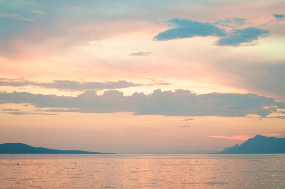 Horizon, Sunset, Sea, Island, Land, Croatia, Evening