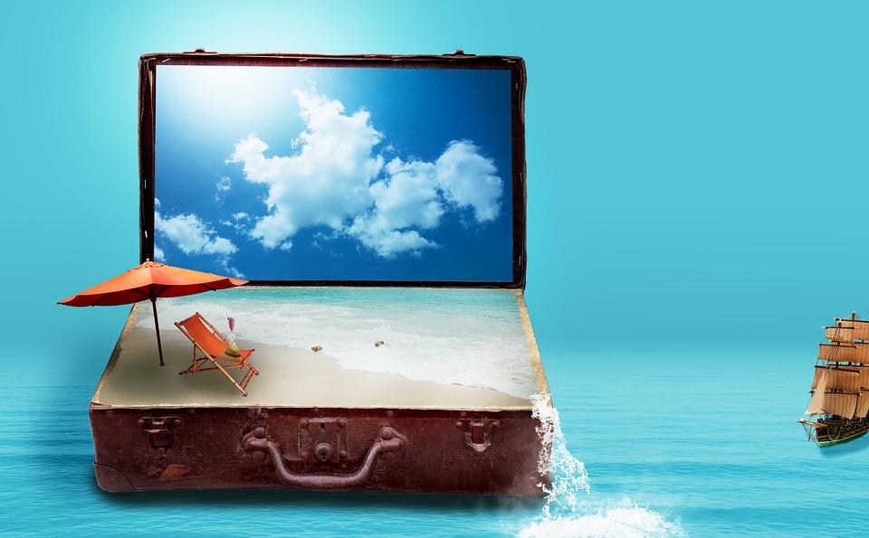 Fantasy, Luggage, Sea, Beach, Clouds, Go Away, Sun Bed