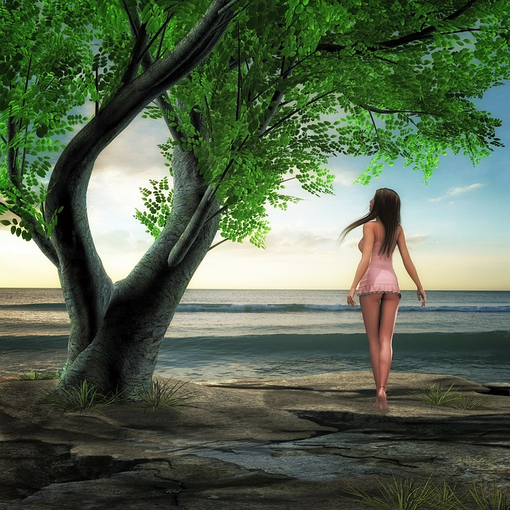 Water, Sea, Tree, Woman, Ausschau, Wait, Fantasy, Wave