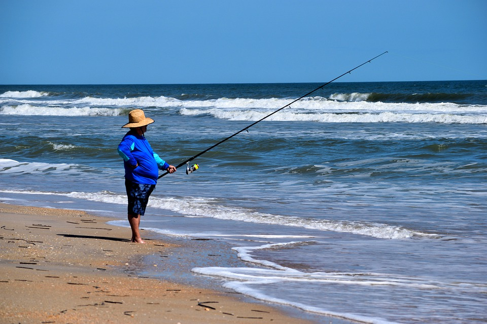 Surf Fishing, Fisherman, Ocean, Sea, Waves, Saltwater