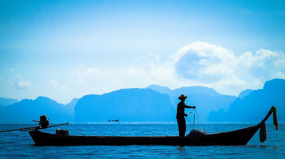 Fishing, Alone, Sea, Fisherman, Water, Man, Sky, Boat