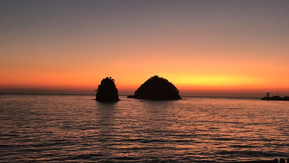 Sunset, Sea, Glow, Rock, Do Not Shave, Flowers Not