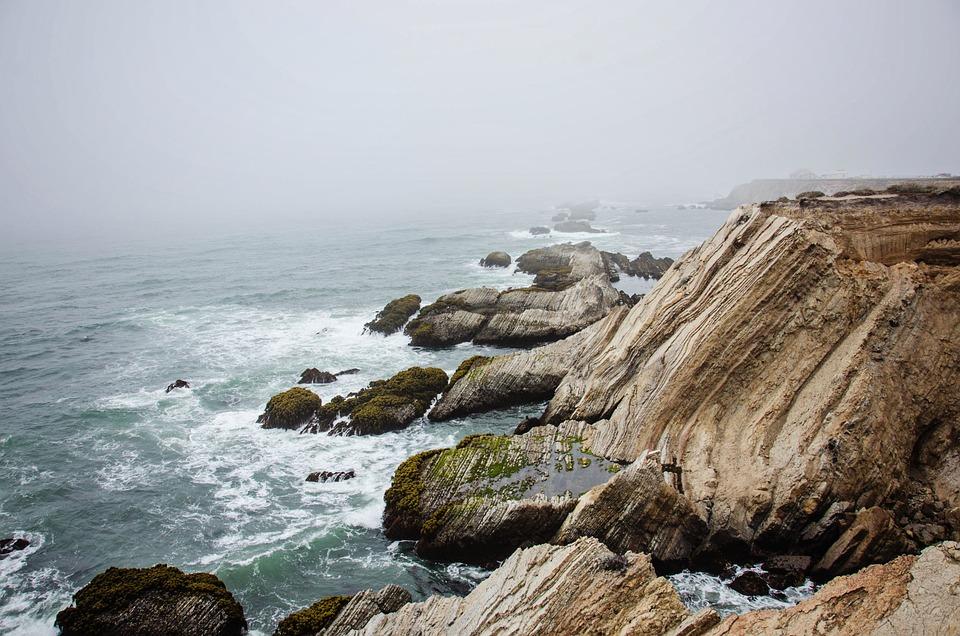 Ocean, Sea, Rocks, Nature, California, Fog, Coast