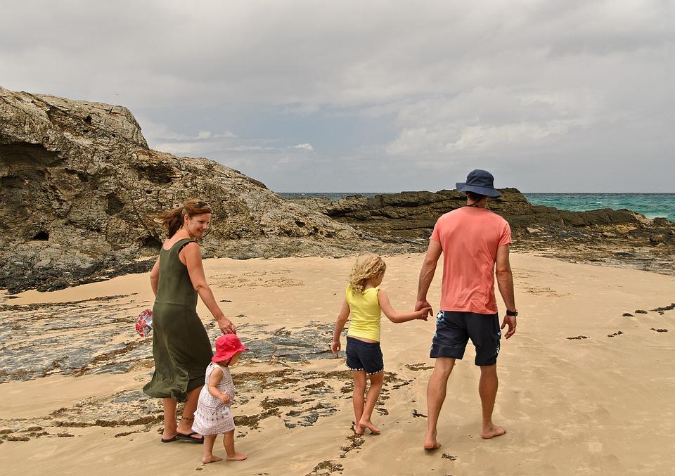 Family, Beach, Fun, Seaside, Summer, Mother, Sea