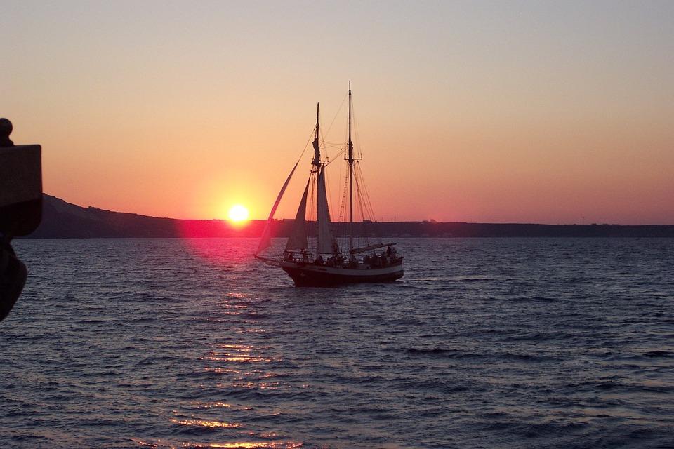Sunset, Santorini, Abendstimmung, Greece, Romantic, Sea