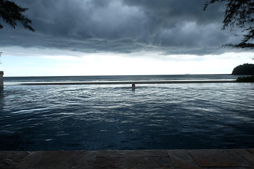 Grey, Clouds, Sea, Pool