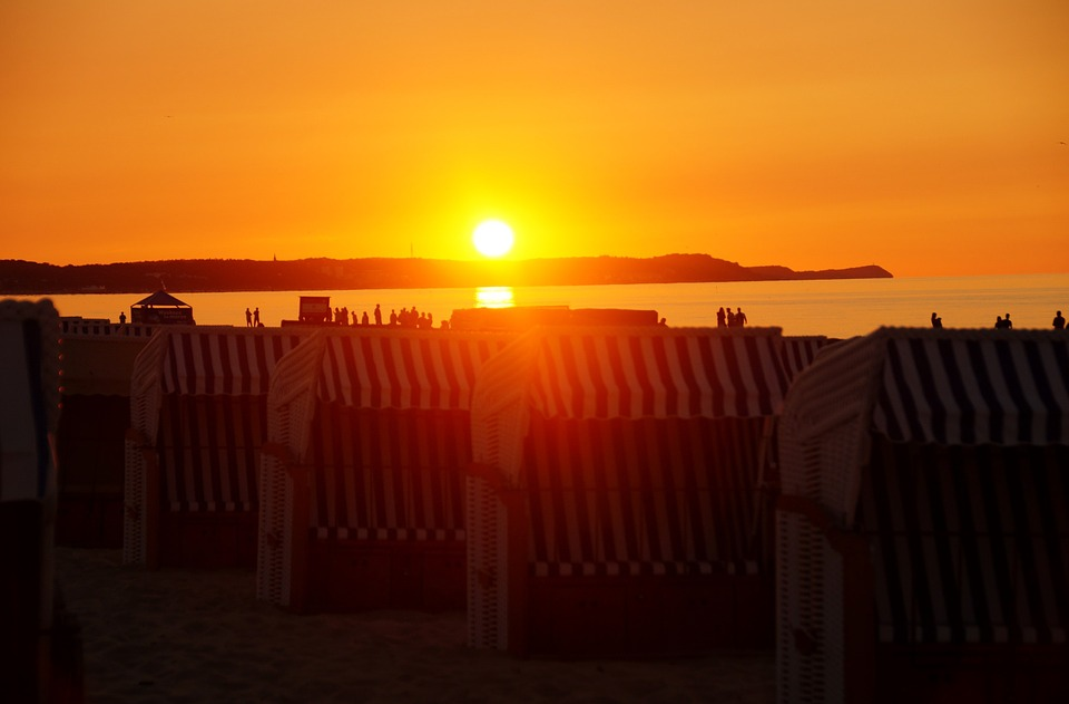 Sunset, Beach Baskets, Sea, Heaven