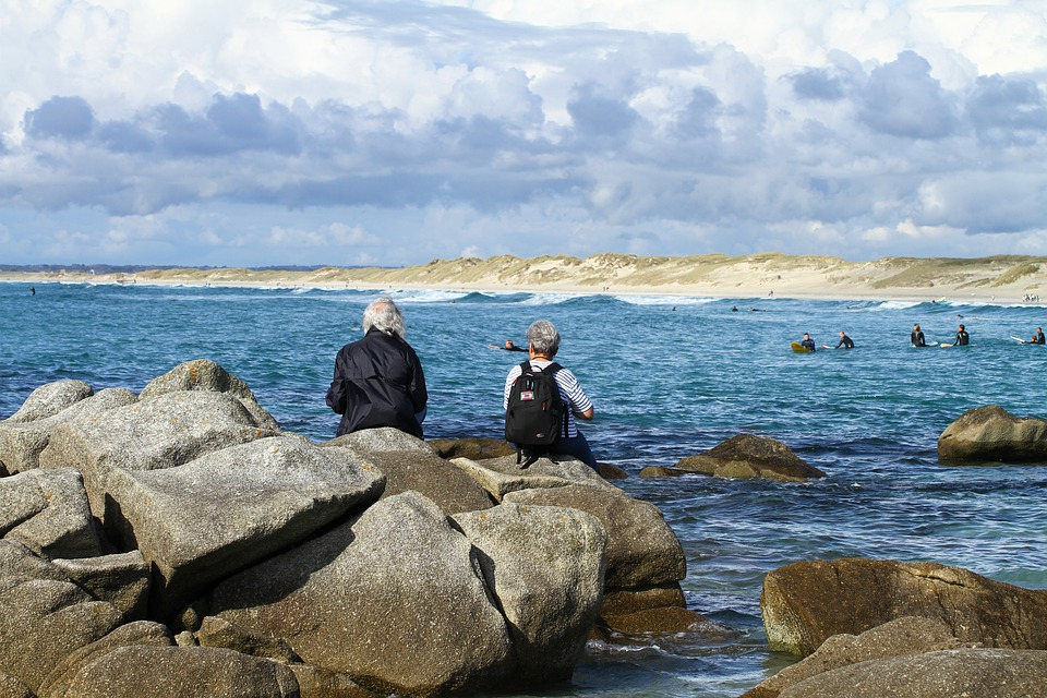 Sea View, Horizon, Wait, Sky, Sea, Rock, Brittany