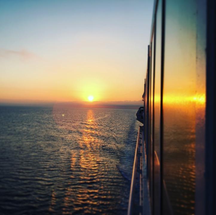 Sea, Horizon, Distant, Boat, Sunrise, Panorama, Ship
